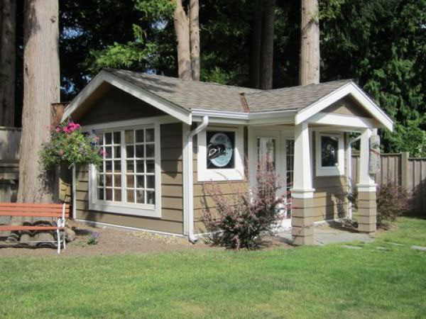 Backyard Garden Shed. Backyard Storage Building. Classic West Coast Style