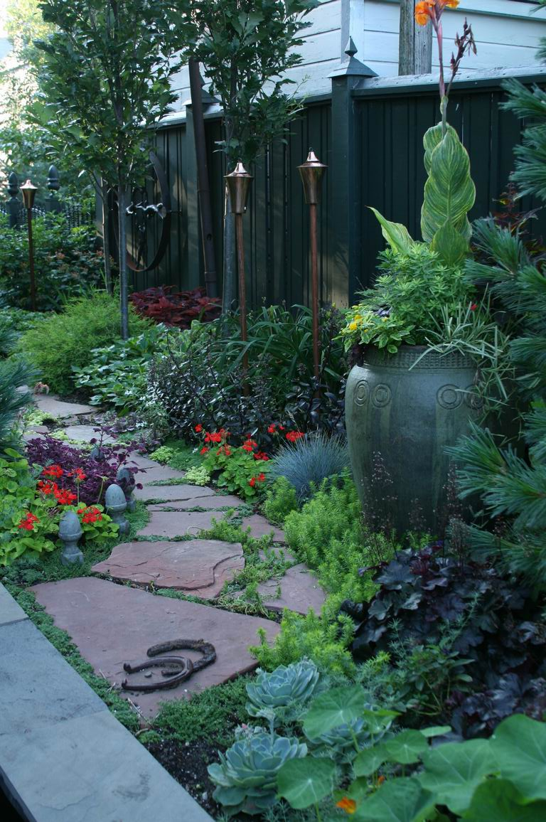 A narrow side yard becomes a fascinating journey ... on Narrow Yard Ideas id=26881